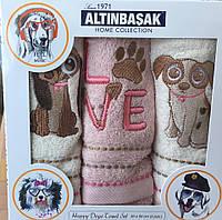 """Набор махровых полотенец  для кухни с вышивкой """"Altinbasak""""  Love+kopek 30х50 см (3 шт.)"""