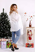 Женская блуза-туника 0675 / размер 42-74 / цвет белый, фото 2