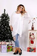 Женская блуза-туника 0675 / размер 42-74 / цвет белый, фото 3