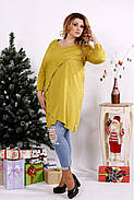 Женская блуза-туника 0675 / размер 42-74 / цвет горчица, фото 3