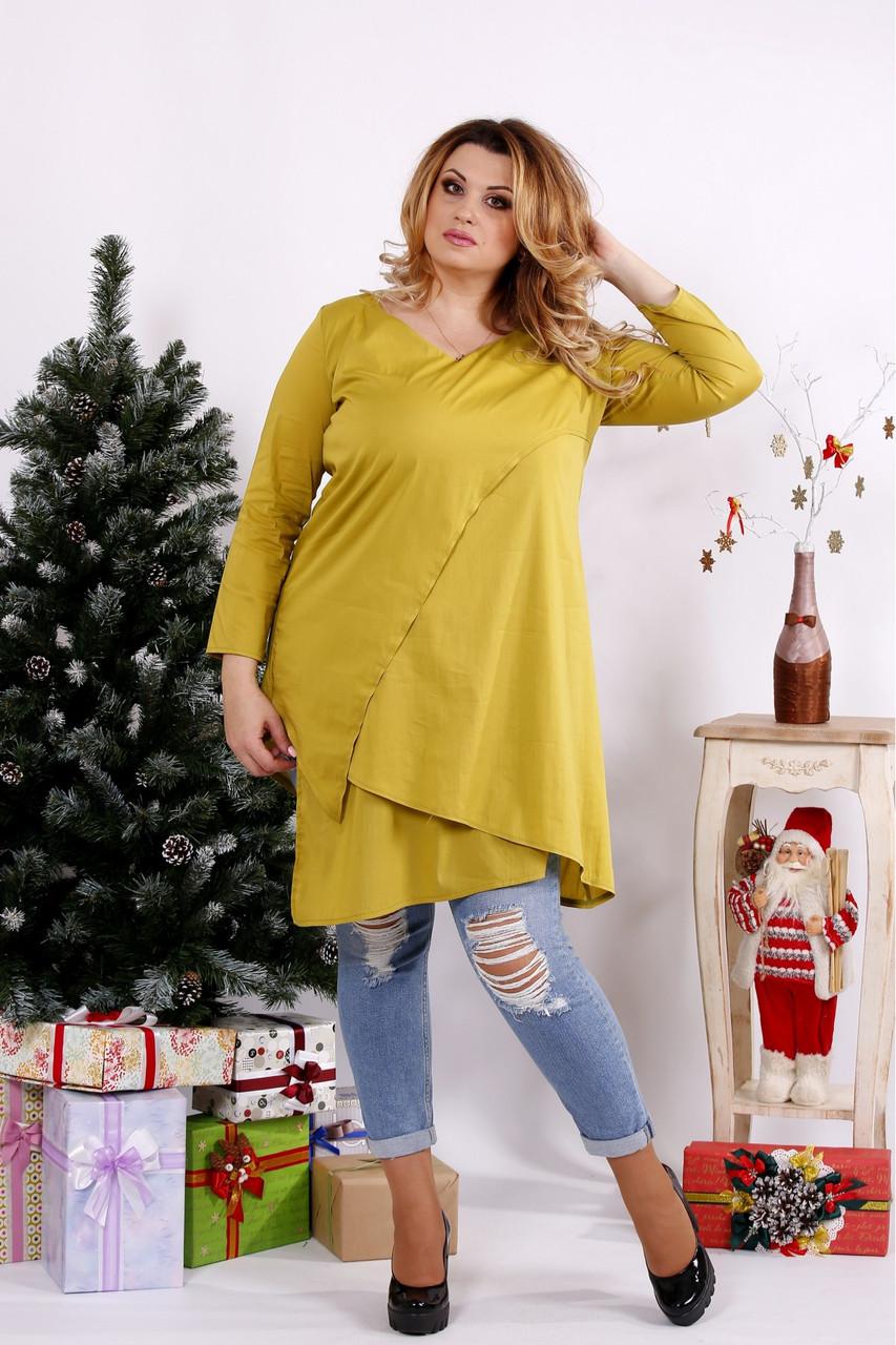Женская блуза-туника 0675 / размер 42-74 / цвет горчица
