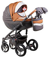 Детская коляска универсальная 2 в 1 Adamex Monte Deluxe Carbon кожа 100% D101 (Адамекс Монте)