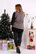 Женская блуза на праздник большого размера 0674 / размер 42-74 / цвет мокко, фото 4