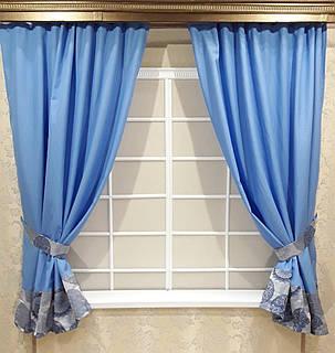 """Кухонный комплект штор + подхваты  """"Дали"""", голубой, фото 2"""