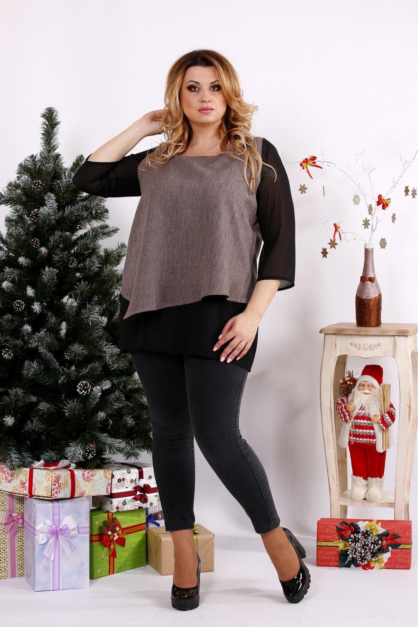 Женская блуза на праздник большого размера 0674 / размер 42-74 / цвет мокко