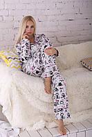 Стильная женская пижама из теплой фланели, костюм для дома П305 XS