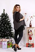 Женская блуза на праздник большого размера 0674 / размер 42-74 / цвет серый, фото 2