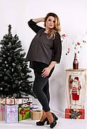 Женская блуза на праздник большого размера 0674 / размер 42-74 / цвет серый, фото 3