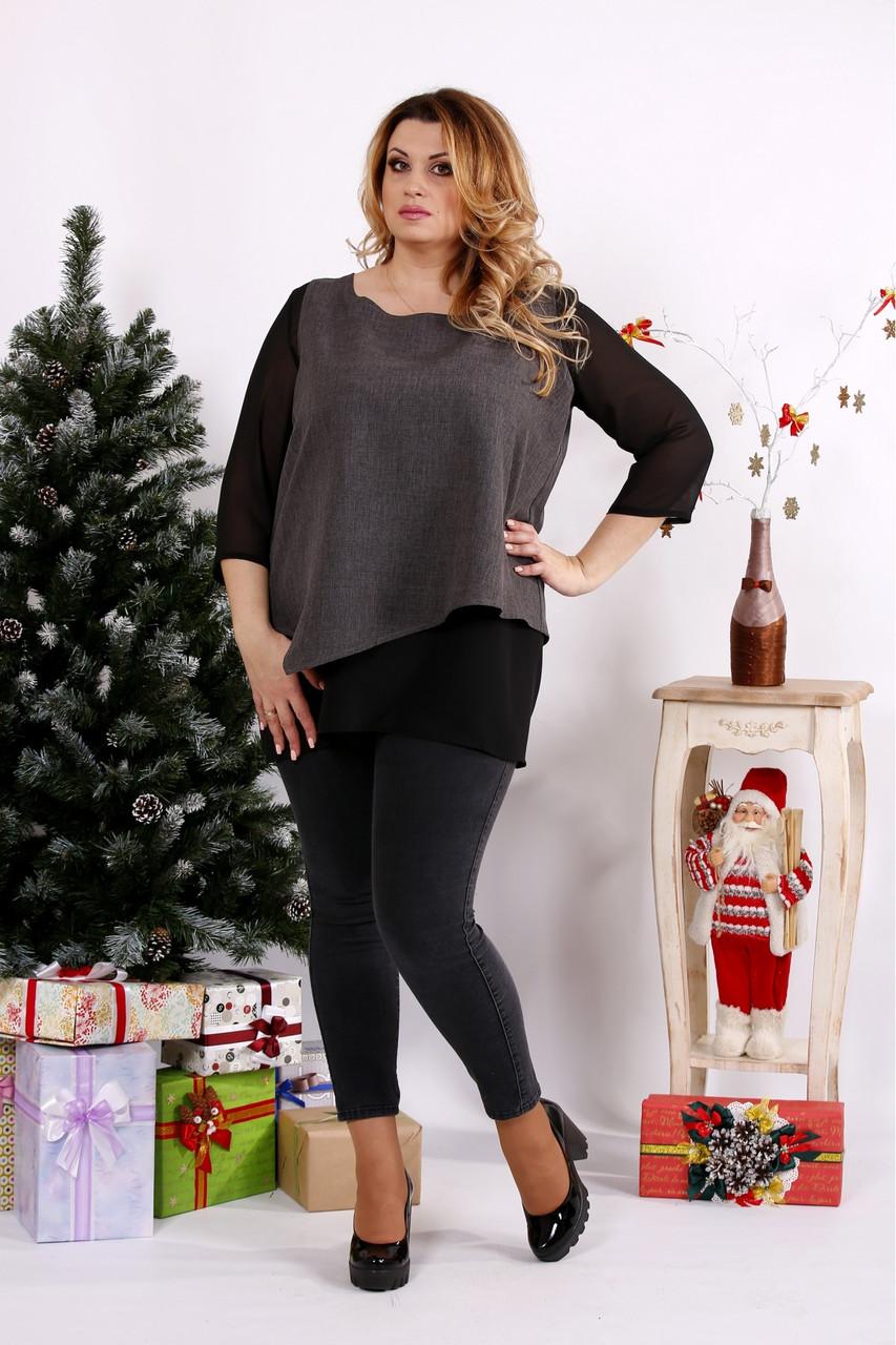 Женская блуза на праздник большого размера 0674 / размер 42-74 / цвет серый