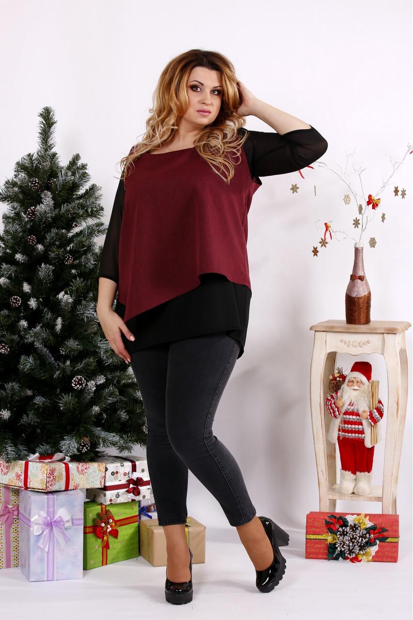 Женская блуза на праздник большого размера 0674 / размер 42-74 / цвет бордо