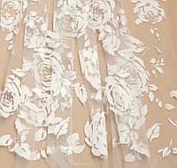 Евросетка (Флок) Розы бархат цвет - молоко № 403