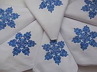 Набор новогодних севировочных салфеток из хлопка с вышивкой ручной работы 6шт.