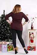 Женская ангоровая блуза рукав 3/4 0672 / размер 42-74 / цвет бордо, фото 4