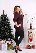 Женская ангоровая блуза рукав 3/4 0672 / размер 42-74 / цвет бордо, фото 2