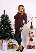 Женская ангоровая блуза рукав 3/4 0672 / размер 42-74 / цвет бордо, фото 3