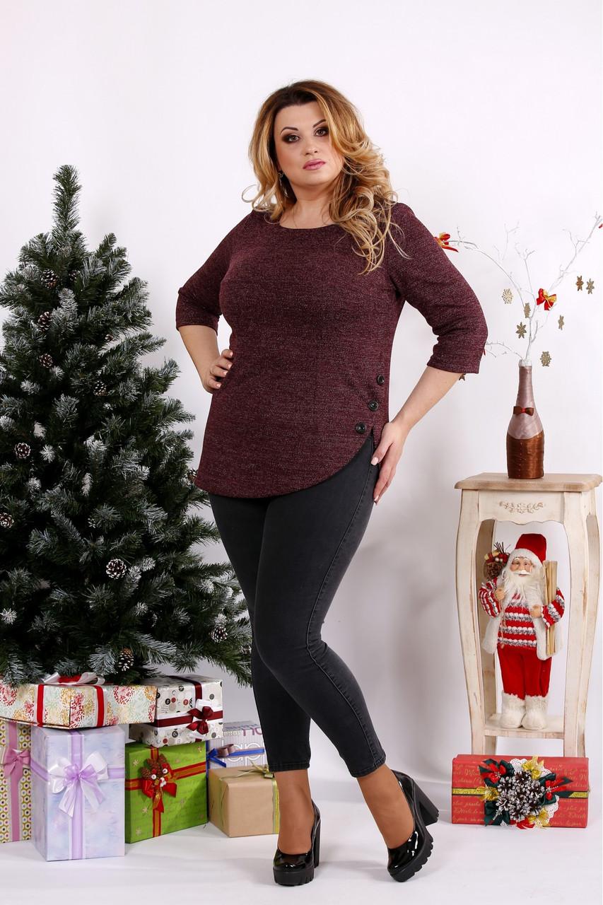 Женская ангоровая блуза рукав 3/4 0672 / размер 42-74 / цвет бордо