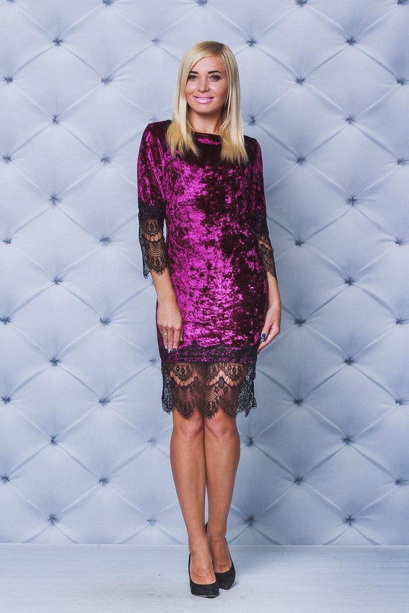 Велюровое платье  бордо