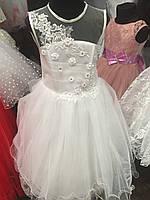 Белое нарядное детское платье с корсетом  (5-6 лет)