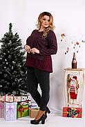Женская блуза из ангоры с гипюром 0669 / размер 42-74 / цвет баклажан, фото 3