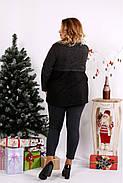 Женская блуза из ангоры с гипюром 0669 / размер 42-74 / цвет черный, фото 4