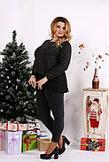 Женская блуза из ангоры с гипюром 0669 / размер 42-74 / цвет черный, фото 3