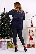 Женская блуза из ангоры с гипюром 0669 / размер 42-74 / цвет синий, фото 4