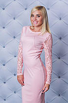 Шикарное трикотажное платье персик, фото 2
