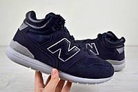 Мужские зимние кроссовки New Balance 696 темно синие 2504