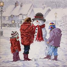 Схема для вишивання бісером Сніговичок