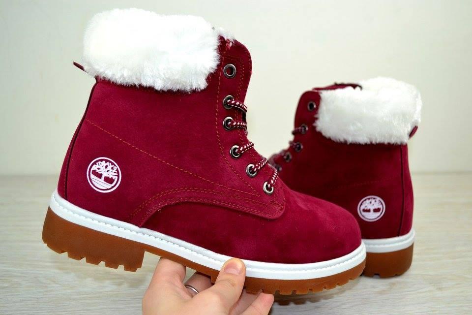 f73258a7 Ботинки женские зимние Timberland бордовые 2496 (РЕПЛИКА) -  интернет-магазин «F-S»
