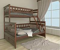 Трехместная двухъярусная кровать трансформер деревянная Русалонька из натурального Бука