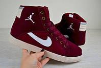 Кроссовки мужские зимние Nike Jordan Найк Джордан бордовые 2484 (реплика)