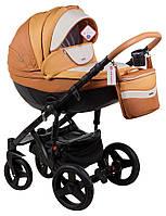 Детская коляска универсальная 2 в 1 Adamex Monte Deluxe Carbon кожа 100% D104 (Адамекс Монте)