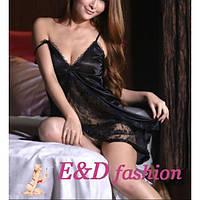 Сексуальная сорочка с трусиками черного цвета для вечера с любимым