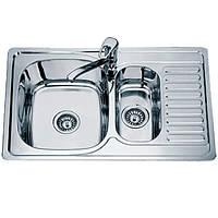 Мойка кухонная, Врезная, Нержавеющая сталь, Прямоугольная,Двойная, размер 78*50 см, Глубокая, Декор