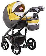 Детская коляска универсальная 2 в 1 Adamex Monte Deluxe Carbon кожа 100% D108 (Адамекс Монте)