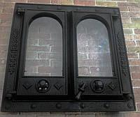 Дверца для камина 550х550 мм, каминная дверка, дверь в камин со стеклом