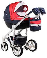 Детская коляска универсальная 2 в 1 Adamex Monte Deluxe Carbon кожа 100% D102 (Адамекс Монте)