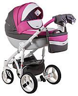 Детская коляска универсальная 2 в 1 Adamex Monte Deluxe Carbon кожа 100% D107 (Адамекс Монте)