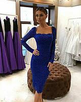 Платье футляр из гипюра синего цвета