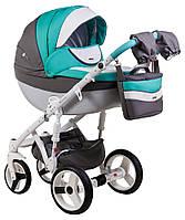Детская коляска универсальная 2 в 1 Adamex Monte Deluxe Carbon кожа 100% D105 (Адамекс Монте)
