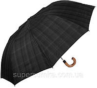 Модный мужской зонт полуавтомат FULTON FULG857-Charcoal-Check, цвет серый. Антиветер!