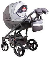 Детская коляска универсальная 2 в 1 Adamex Monte Deluxe Carbon кожа 100% D109 (Адамекс Монте)