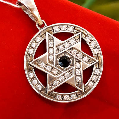 Звезда Давида кулон серебро 925  - Звезда Давида серебряная подвеска