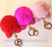 Брелок меховой Бантик (искусственный) Светло-розовый