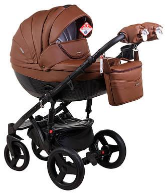 Детская коляска универсальная 2 в 1 Adamex Monte Deluxe Carbon кожа 100% 12S-CZ (Адамекс Монте)