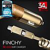 Автомобильное зарядное Remax Finchy 3.4A 2 in 1 Cable RCC103, фото 5