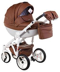 Детская коляска универсальная 2 в 1 Adamex Monte Deluxe Carbon кожа 100% 12S-B (Адамекс Монте)