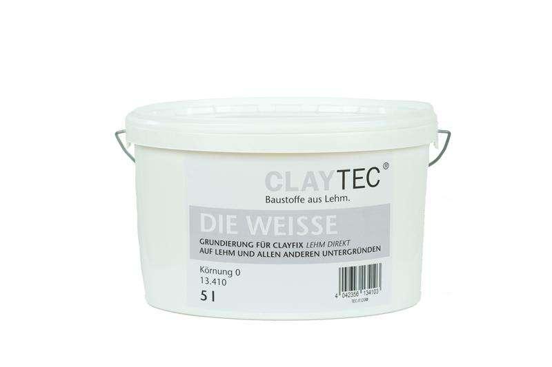 Натуральная  грунтовка Claytec DIE WEISSE белая, 5 л