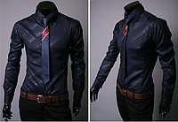 Оригинальная синяя мужская рубашка длинный рукав L, XL, XXL